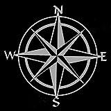 greestick Aufkleber Kompass 15x15cm Silber by Sticker Windrose Kompassrose Wanderlust Decal Vinyl