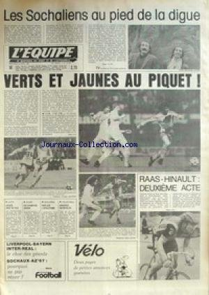EQUIPE (L') [No 10855] du 08/04/1981 - LES SOCHALIENS AU PIED DE LA DIGUE - VERTS ET JAUNES AU PIQUET - RAAS- HINAULT - LUTTE - LACAZE - RUGBY - VOLLEY - ASNIERES. par Collectif