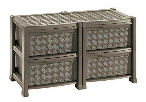 Tontarelli arianna cassettiera con 4 cassetti doppia, wengè, 78x49.5x44.5 cm