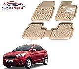 #8: Auto Pearl - Premium Quality Custom Fit Croc Finish Beige Color 4D Car Floor Mats For - Ford Figo Aspire