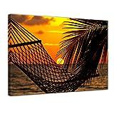 Kunstdruck - Palmen, Hängematte und Sonnenuntergang - Bild auf Leinwand - 60 x 50 cm - Leinwandbilder - Bilder als Leinwanddruck - Urlaub, Sonne & Meer - Sonnenuntergang in der Südsee