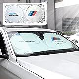 OZYXDZAMX Auto Sonnenschutz, Sommer Sonnenschutz Auto Frontscheibe Auto Sonnenblende Super Leichter Antrag und Das Falten von Merkmal für Kinder, Hunde und Babys.BMW (m)