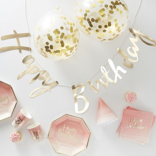"""Ginger Ray """"Party in a Box"""": Komplettes Partyset Geburtstag Gold/Ombre"""