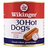 Wikinger 30 Hot Dogs Bockwurst Stil in Salzlake 3000g (Packung mit 4 x 30s)
