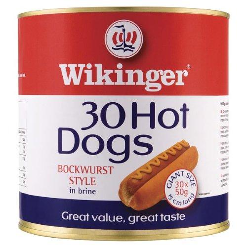 Wikinger 30 Hot Dogs Bockwurst Stil in Salzlake 3000g