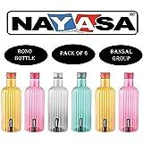 Nayasa Supar Plastic Bono Water Bottle 1000 ML Set of 6 by Bansal Group (Multicolor)