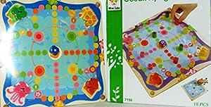 Allkindathings - Juego de Juguetes de Madera para niños 2 en 1 Tic TAC Toe y Estilo océano