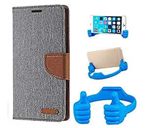 Aart Fancy Wallet Dairy Jeans Flip Case Cover for Apple6G (Grey) + Flexible Portable Mount Cradle Thumb OK Designed Stand Holder By Aart Store.