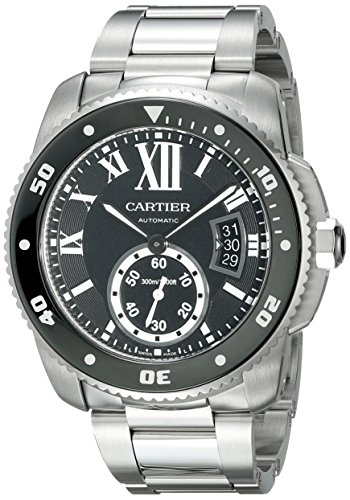 Cartier Men's Calibre De Cartier Diver Steel Bracelet & Case Automatic Black Dial Analog Watch W7100057