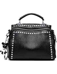 MICOM Fashion Rivets Studded Shoulder Bag With Bear Pendant Tote Bag For Women (Black)