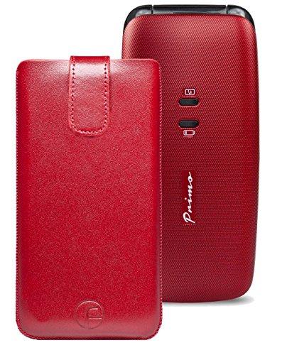 Original Favory Etui Tasche für / DORO Primo 401 / Leder Handytasche Ledertasche Schutzhülle Case Hülle *Speziell - Lasche mit Rückzugfunktion* in rot