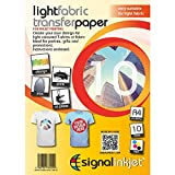 10 x A4 Iron On T Shirt Transfer Paper for Light Fabric