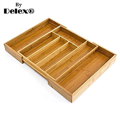 Deluxe Quality Space Saving Expandable Adjustable Bamboo Wooden Cutlery Tray/Basket,