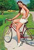 Schatzmix Pinup/Pin up sexy Frau am Fahrrad Erotik blechschild