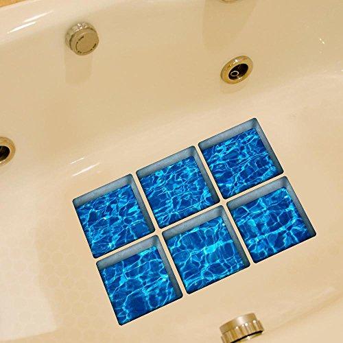 LXPAGTZ Bagno creativo 3D incolla personalità e durevolezza antimacchia HD mare acqua bagno resistente al calore impermeabile antiscivolo vasca adesivo auto adesivi singolo foglio dimensioni 130 * 130 millimetri (5.11 * 5.11 pollici) set di 6 #008