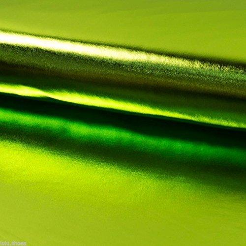 Soie Métallique lamé brillant Aluminium Tissu danse Costume 147 cm chaux large (vendu au mètre)