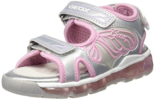 Geox Android A, Sandales Bout Ouvert Fille Argent (Silver/Pinkc0566)