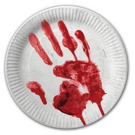 DH-Konzept Blutige Hand Pappteller Halloween-Party-Deko 10 Stück Weiss-rot 23cm Einheitsgröße