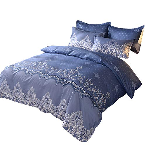 MISSMAO Bettwäsche Set Bettbezug mit Retro Europäische Damast Muster Super Weiche Atmungsaktive Mikrofaser Bettwäsche mit Reißverschluss mit Kissenbezug