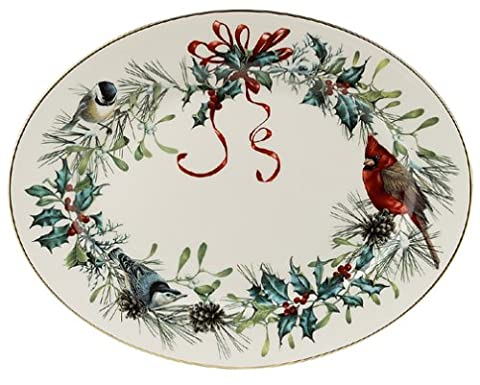 Lenox Winter Greetings 13-Inch Gold-Banded Fine China Platter