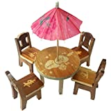 #4: Trinkets & More Cute Wooden Doll House Miniature Dinning Table For Kids 3+ Years