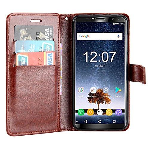 Raiphy Leder Brieftasche Hülle für Oukitel K6,Telefon schützender lederner Fall mit Einem Einbauschlitz und Standfunktion (Braun)