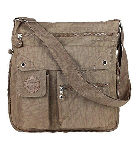 2221 Bag Street Damen sportliche Handtasche Umhängetasche Schultertasche aus Nylon Braun