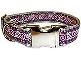 Halsband Hund silber Hundehalsband edel Pink Waves Nylon ALU 40 - 50 cm x 25 mm