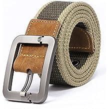 Regolabile Canvas Cintura Belt Waistband con Fibbia in metallo - Aohro All'aperto Sport Cinghia Uomo Donna Unisex in Tessuto Tela - stile 1 - kaki banda