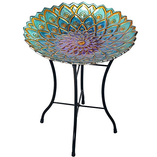 Peaktop 3014051 Outdoor Mosaic Flower Fusion Glass Bird Bath with Stand, Green, 18-Inch