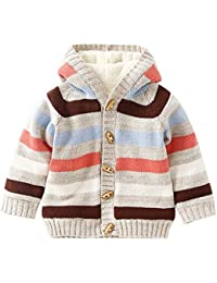 EXIU Cute Baby Boys Girls Cartoon Print Casual Cardigan Knitting Sweater Outerwear