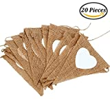 Keriber 20 Pieces Hessian Burlap Bunting Banners White Love Heart for Wedding, Party or Birthday Decoration with 4.8M String (Set A)
