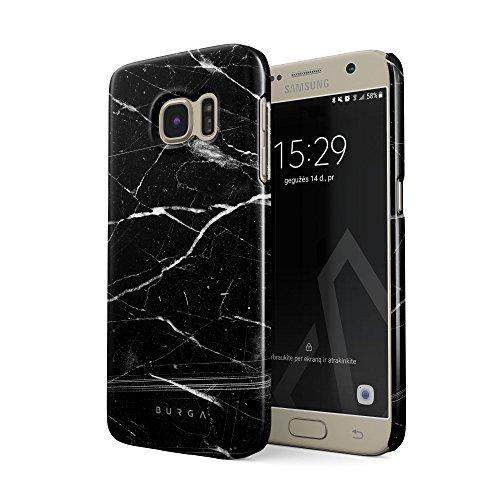 BURGA Hülle Kompatibel mit Samsung Galaxy S7 Handy Huelle Schwarz Marmor Muster Black Marble Dünn, Robuste Rückschale aus Kunststoff Handyhülle Schutz Case Cover
