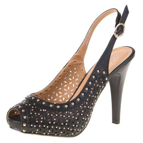 Damen Schuhe, 9620-GL, PUMPS Schwarz
