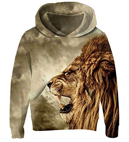 (Goodstoworld Lion 3D Hoodie Teenager Mädchen Jungen Pullover Coole Druck Lange Ärmel Kapuzenpullover Kapuzensweatshirt)