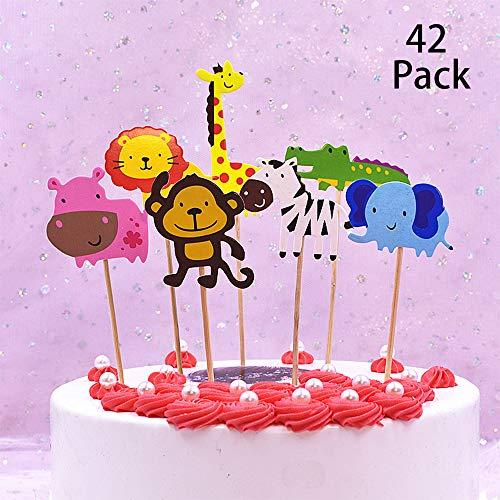 TOPHOPE 42 Stück süßer Zoo/Dschungel-Themed Tier Kuchendeckel Topper für Kinder Baby Party Geburtstag Party Kuchen Dekoration Supplies