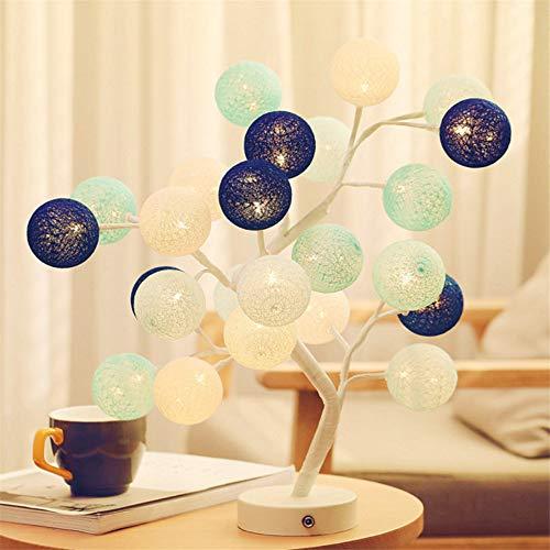 Schlafzimmer Tischlampe Led Nachtlicht Deko Lampe Handgefertigt Wattebausch Baum Lampe Geschenk Dunkelblau -