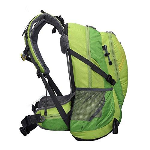 Cuckoo 40L leichter wasserdichter Camping Reisen Radfahren Wandern Rucksack mit Regen Abdeckung Laptop Abteil Hydratation Blase Pack Grün
