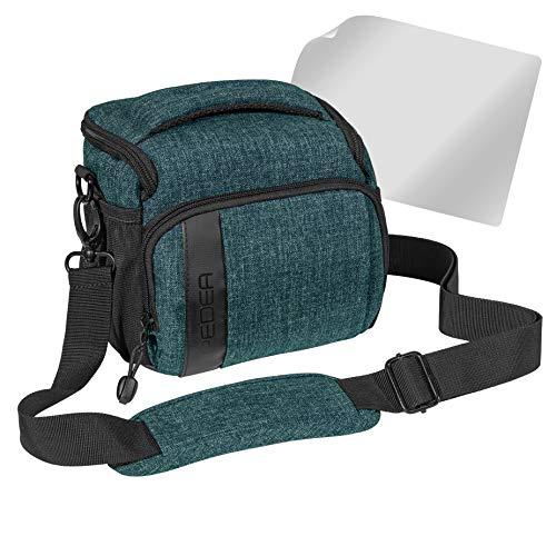 PEDEA SLR-Kameratasche Umhängetasche mit Displayschutz für Olympus E-M10, E-M5 Mark II, Pen E-PL8 E-PL9 / Canon EOS M50 / Nikon D5600, D7500 / Panasonic Lumix DMC G9 G70 G81 GX8 GX80, (L) Petrol