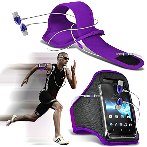 ( Black ) OnePlus 3 Case High Quality Fitted Sports Armbands Running Bike Cycling Gym Jogging Ridding Arm Band Case Cover by i-Tronixs Armband + earphones (Purple)