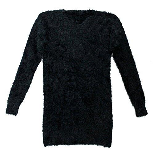 Maglione da Donna,Fluffy Fuzzy Manica Lunga Maglia Mohair Ponticello Jumper Nero