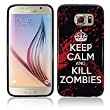 Cell Shell ® Samsung Galaxy S7 Hülle / Case / Cover / Silikonhülle Schwarz - Premium Slim Silikon/TPU/Gel Schutzhülle mit Keep Calm and Kill Zombies Muster Schutzhülle für Samsung Galaxy S7 - Weiß und Rot