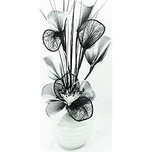 Weiß Schwarz Künstliche Blumen Mit Weiß Vase, Deko, Wohnaccessoires & Deko Geeignet für Bad, Schlafzimmer Oder Küche Fenster / Regal, 32cm