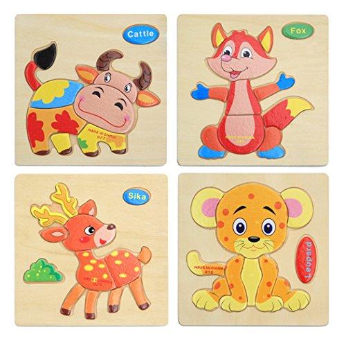 Hillento 3d puzzle di legno puzzle educativo giocattoli puzzle per bambini piccoli-puzzle educativo giocattoli set, educativo e sensoriale di apprendimento per i pi? piccoli, set di 4 (leopardo, sika, bovini, volpe)