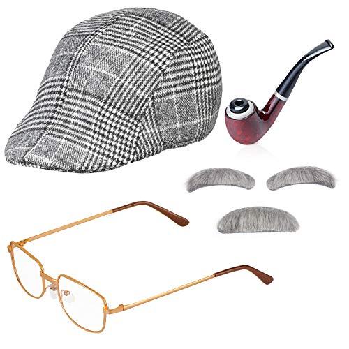 Haichen Alter Mann Kostüm Zubehör Männer Zeitungsjunge Mütze Efeuhut Kostüm Brille Tabakspfeife Schnurrbart und Augenbrauen Set Opa Outfit Zubehör (Hellgrau)