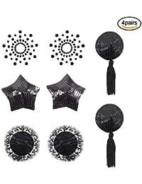 EQLEF Brustpaste selbstklebend Pasties Pailletten Nippel Cover Aufkleber mit Quaste Dessous Brust Blütenblatt Pasty 4 Styles-schwarz