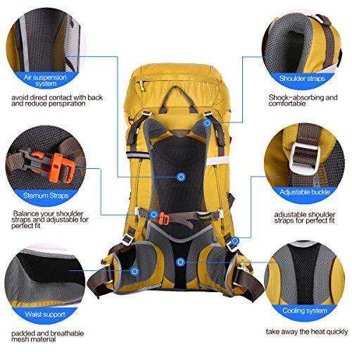 Eshow Zaino Unisex 50 Litri Impermeabile Leggero Copertina antipioggia Trekking Outdoor Sport Alpinismo Escursionismo Campeggio Viaggio Giallo giallo