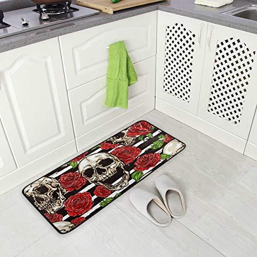 DXG1 Anti-Ermüdungsmatte mit Totenkopf-Rosen-Streifen, bequem, rutschfest, für Eingangs- und Stehschreibtische, Schlafzimmer, 50 x 99 cm -