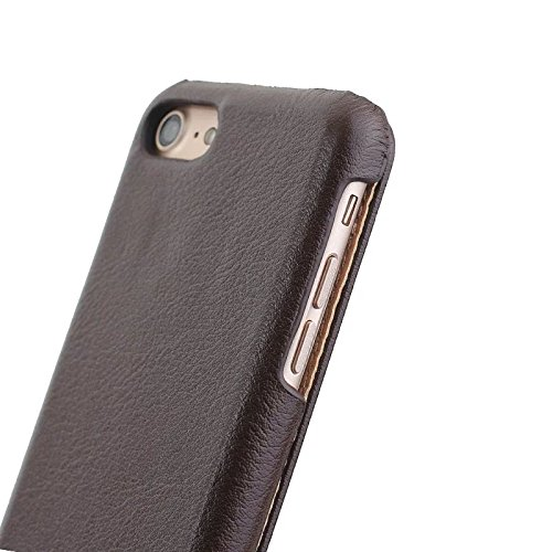 EKINHUI Case Cover Echtes Leder Vertikale Folio Flip Case mit Magnetverschluss Slim Hard Back Cover für IPhone 7 ( Color : Wine ) Brown