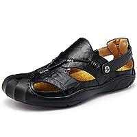 Gomnear Sandals Closed Teo Men Fashion Fisherman Sandal Beach Summer Slipper Shoes With Convenient Velcro (UK10/EU46, Black)